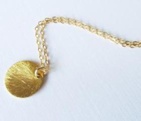 Gold Disc Necklace, 14kt Gold Filled Necklace Gift for Her