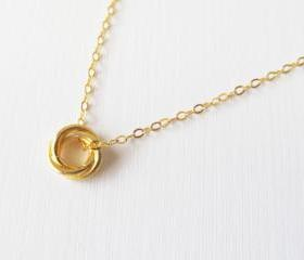 Gold Bali Bead Necklace, 14kt Gold Filled Necklace, Gift for Her