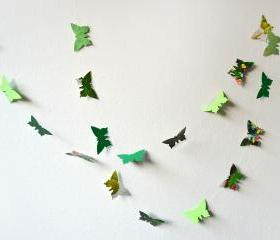 Green paper butterflies garland - wall decor