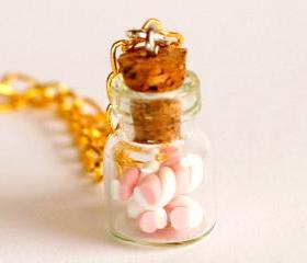 Marshmallow bottle necklace polymer clay kawaii jar cute gift golden necklace