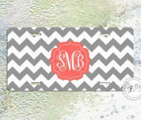 Personalized license plate monogrammed coral and gray chevron custom car tag