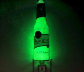Pilsner Urquell 12oz Beer Jumbo Night Light / Accent Lamp Eco LED...'Diamond Like' Glass Crystal Coating on interior