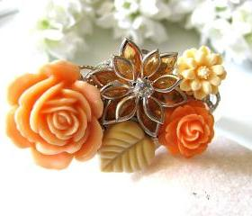Autumn Love Vintage Style Collage Bracelet - Autumn Orange Spice, One of a Kind Love Romance, Bride, Maid Of Honour, Bridesmaids
