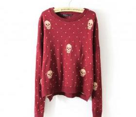 Red Skull Polka Dot Jacquard Sweater