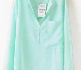 Green Collarless Long Sleeve Dipped Hem Blouse with Front Pocket