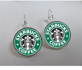 Leverback earrings. Starbucks earrings. Coffee earrings. Starbucks jewelry. Coffee jewelry. Glass and shiny silver metal. Starbucks coffee.