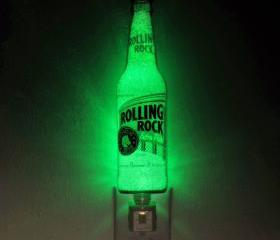 12oz Rolling Rock Night Light / Accent Lamp- VIDEO DEMO- Eco LED...'Diamond Like' Glass Crystal Coating on interior