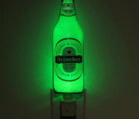 12oz Heineken Night Light / Accent Lamp- VIDEO DEMO- Eco LED...'Diamond Like' Glass Crystal Coating on interior