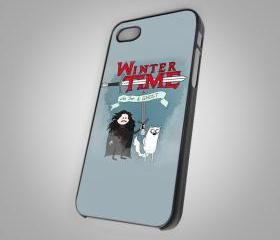 For iPhone 4/4S - Adventure Time Game Of Throne Thrones Stark Winter Is Coming - on Hard Case