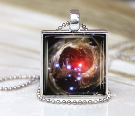 Stellar Outburst Astronomy Cosmic Glass Necklace Keychain