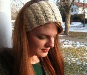 Irish Cabled Head/Hair Band Ear Warmer Off White Women Gift