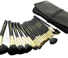 Luxury 20pcs/set Makeup Brushes Cosmetic set Kit Packed in high quality Leather Case - Black& Gold