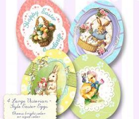 Easter Egg Vintage Label Digital Download Printable Tags Scrapbook Collage Sheet Cards