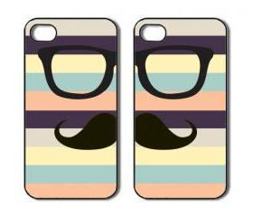 Mustache with glasses. Two iPhone 4 /4s / 5 Cases / Covers. Silicone Rubber / Hard Plastic