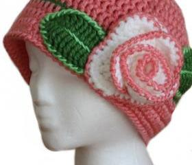 Womens Pink Beanie Rose Hats for Teen Girls and Women with Crochet Gorgeous Rose- READY TO SHIP