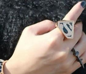 Superman Trigonometry Rhinestone Ring