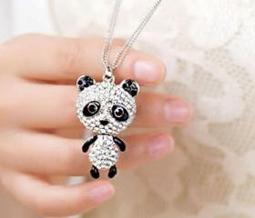 Fashion Rhinestone Little Panda Pendant Necklace