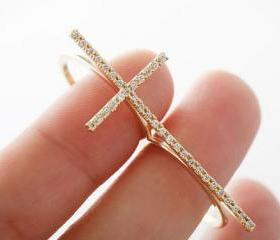 Exquisite Rhinestone Cross Double Ring