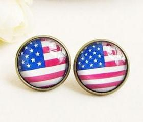 Vintage Handmade American Flag Stud Earrings