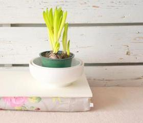 Stable table, iPad stand or Breakfast serving Tray - Off White with Rose Floral print Pillow