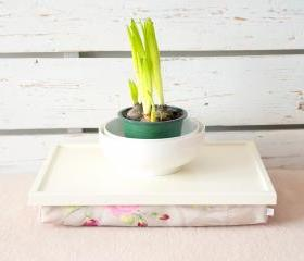 Laptop Lap Desk or Breakfast serving Tray - Off White with Rose Floral print Pillow