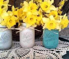Painted Mason Jars - (3) pint