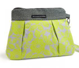 Wristlet / Clutch / Purse / Bag - Green Floral on Gray Background