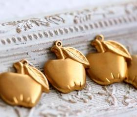 Vintage Aged Brass Apple Charms - last lot