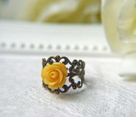 Petite Tangerine Rose Ring. Antique Brass