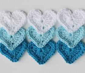 Heart appliques blue white