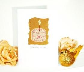 embroidered greeting card 'cake' recycled