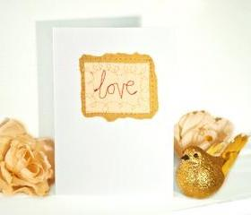 embroidered greeting card 'love' recycled