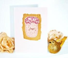embroidered greeting card 'jam jar' recycled