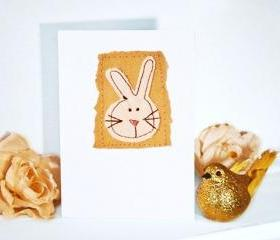 embroidered greeting card 'bunny' recycled