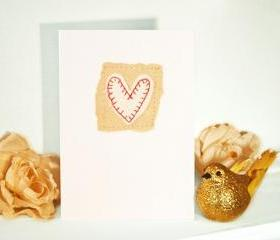 embroidered greeting card 'heart' recycled