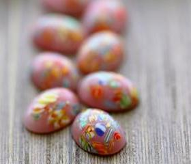 Vintage Pink Millefiori Flat Back Glass Cabochons from Japan