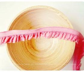 Elastic double layer pink ruffles ribbon