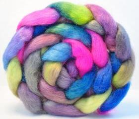 Hand Painted Wool Roving Wensleydale Combed Top Spinning or Felting Fiber - 4.2 oz - COMICS