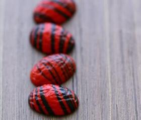 Vintage Red Black Striped Glass Cabochons