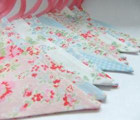 Pretty Shabby Chic Party Bunting - CATHS FLOWERS in Pink and Blue - 9 Feet PLUS ties, perfect for Weddings and Baby Showers
