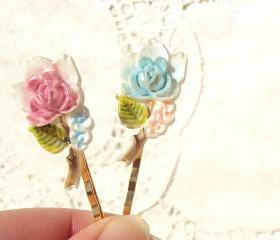 Rose Blossom - Flower Bobby Pin Set