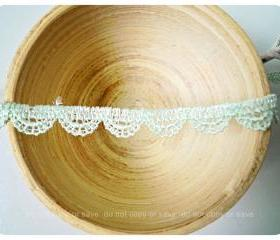 Scallop lace mint cotton trim