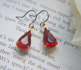Dainty Ruby Red Vintage Glass Jewel Earrings. Titanium Ear Wires