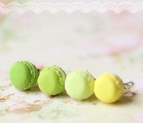 Miniature Food Earrings - French Macaron Earrings in Green and Yellow Series