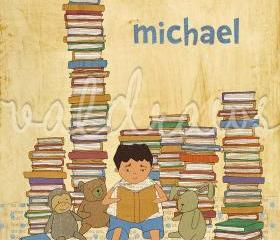 Boy reading to stuffed animals among stacks of books Wonder personalized 8 x 10 print (boy)
