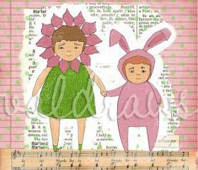 Children's art print Two girls holding hands Sisters 3 x 3 mini print