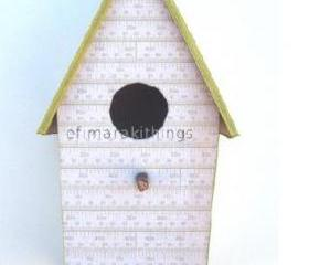"cardboard birdhouse "" green stripes """