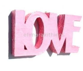3D paper mache word &quot;LOVE&quot;