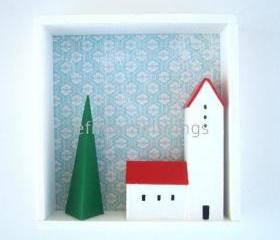 Winter scene shadow box