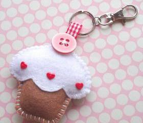 Cupcake Keyring Charm - Toffee